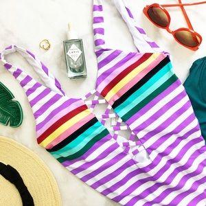 Purple Retro Striped Cutout Scoop Back One Piece